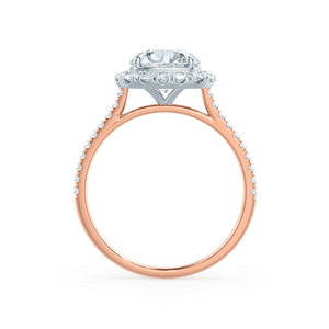 BLUSH - Petite Halo Charles & Colvard Moissanite & Diamond Two Tone 18k Rose Gold & Platinum Ring