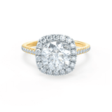 BLUSH - Petite Halo Charles & Colvard Moissanite & Diamond 18k Two Tone Yellow Gold Ring