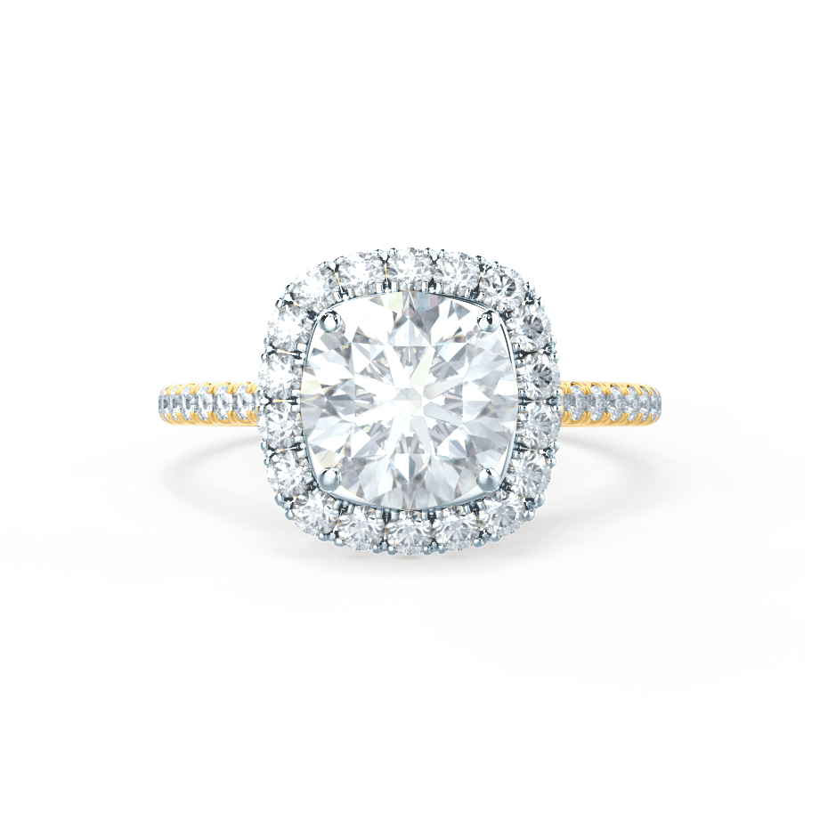 Lily Arkwright Engagement Ring BLUSH - Petite Halo Charles & Colvard Moissanite & Diamond Two Tone 18k Yellow Gold & Platinum Ring