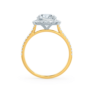 Lily Arkwright Engagement Ring BLUSH - Petite Halo Charles & Colvard Moissanite & Diamond 18k Two Tone Yellow Gold Ring