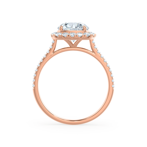 BLUSH - Round Moissanite & Diamond 18k Rose Gold Petite Halo Ring Engagement Ring Lily Arkwright