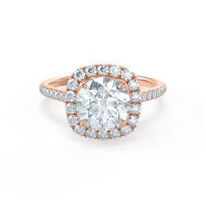 Lily Arkwright Engagement Ring BLUSH - Petite Halo Charles & Colvard Moissanite & Diamond 18k Rose Gold Ring