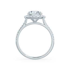 BLUSH - Round Moissanite & Diamond 18k White Gold Petite Halo Ring Engagement Ring Lily Arkwright