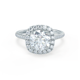 Lily Arkwright Engagement Ring BLUSH - Petite Halo Charles & Colvard Moissanite & Diamond Platinum Ring