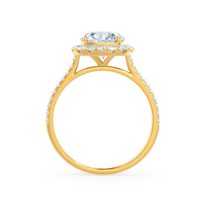 BLUSH - Round Moissanite & Diamond 18k Yellow Gold Petite Halo Ring Engagement Ring Lily Arkwright