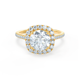 Lily Arkwright Engagement Ring BLUSH - Petite Halo Charles & Colvard Moissanite & Diamond 18k Yellow Gold Ring
