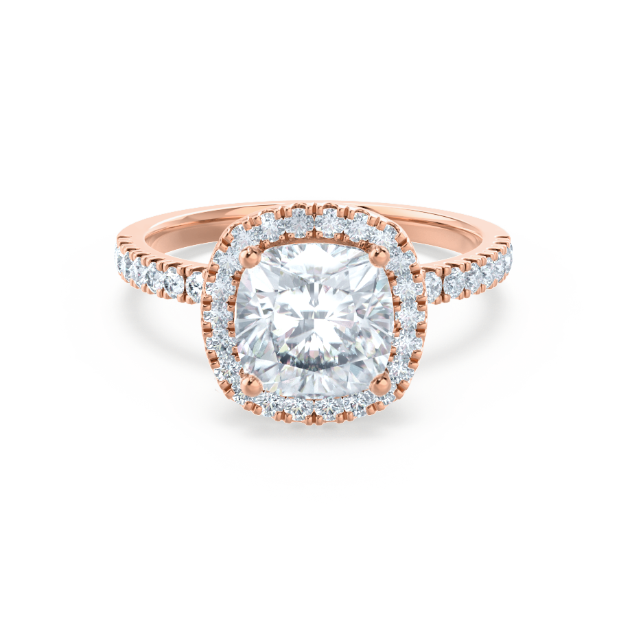 Caseada Charles Colvard Moissanite Diamond 18k Rose Gold Halo Ring