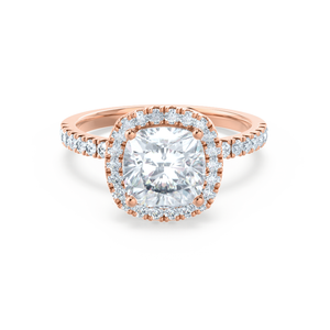 CASEADA - Cushion Moissanite & Diamond 18k Rose Gold Halo Ring Engagement Ring Lily Arkwright