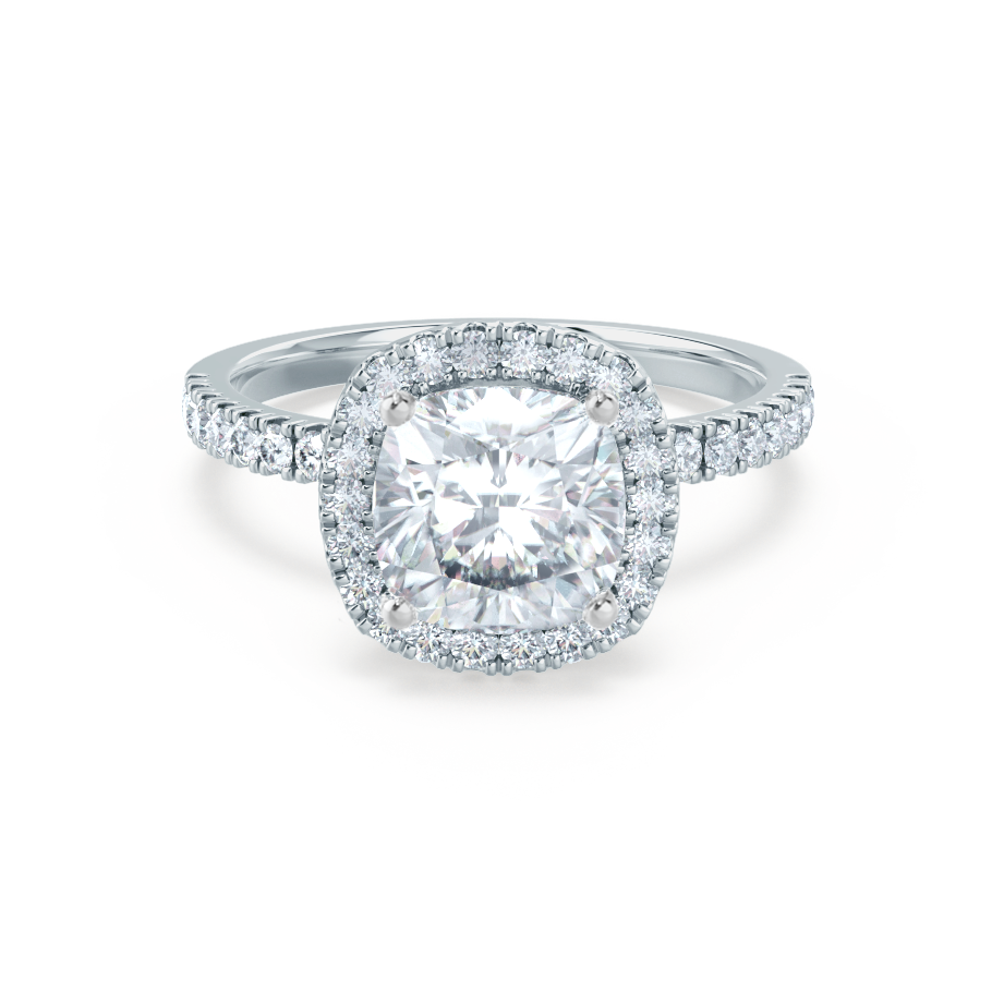 36d1a5fa3fae9 Caseada Charles & Colvard Moissanite & Diamond 18k White Gold Halo Ring