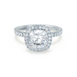 CASEADA - Charles & Colvard Moissanite & Diamond Platinum Halo Ring