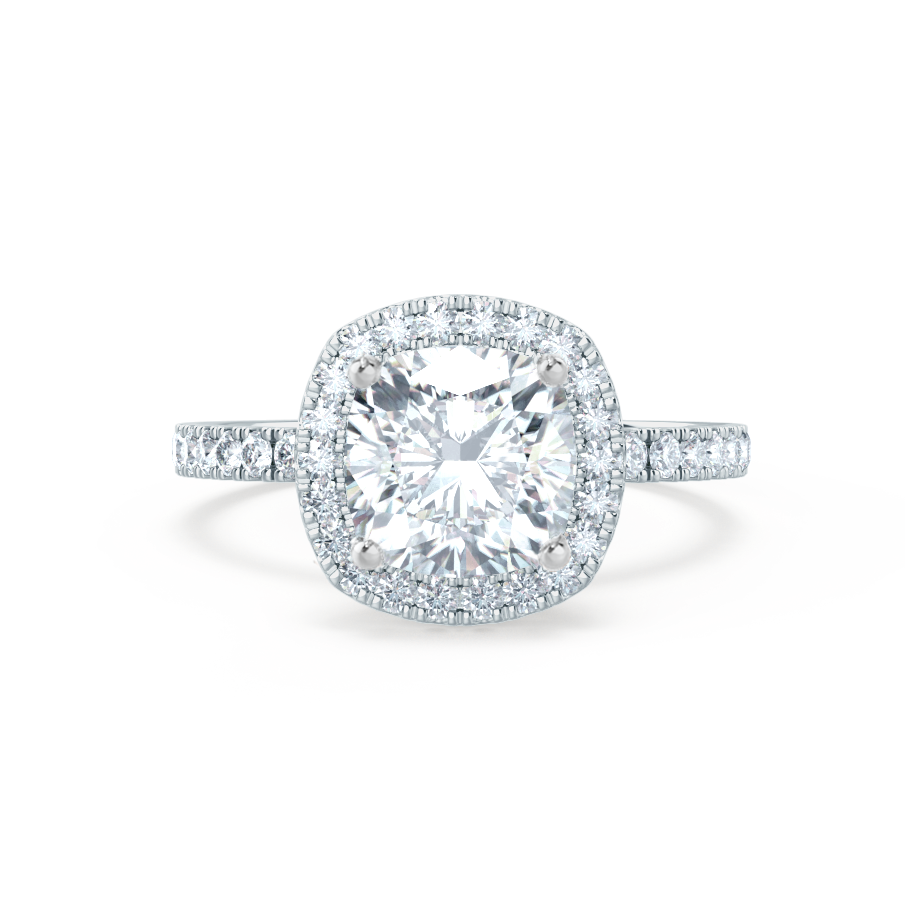 Lily Arkwright Engagement Ring CASEADA - Charles & Colvard Moissanite & Diamond 18k White Gold Halo Ring