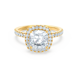 CASEADA - Charles & Colvard Moissanite & Diamond 18k Yellow Gold Halo Ring