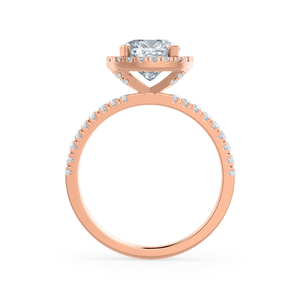 Lily Arkwright Engagement Ring CASEADA - Charles & Colvard Moissanite & Diamond 18k Rose Gold Halo Ring