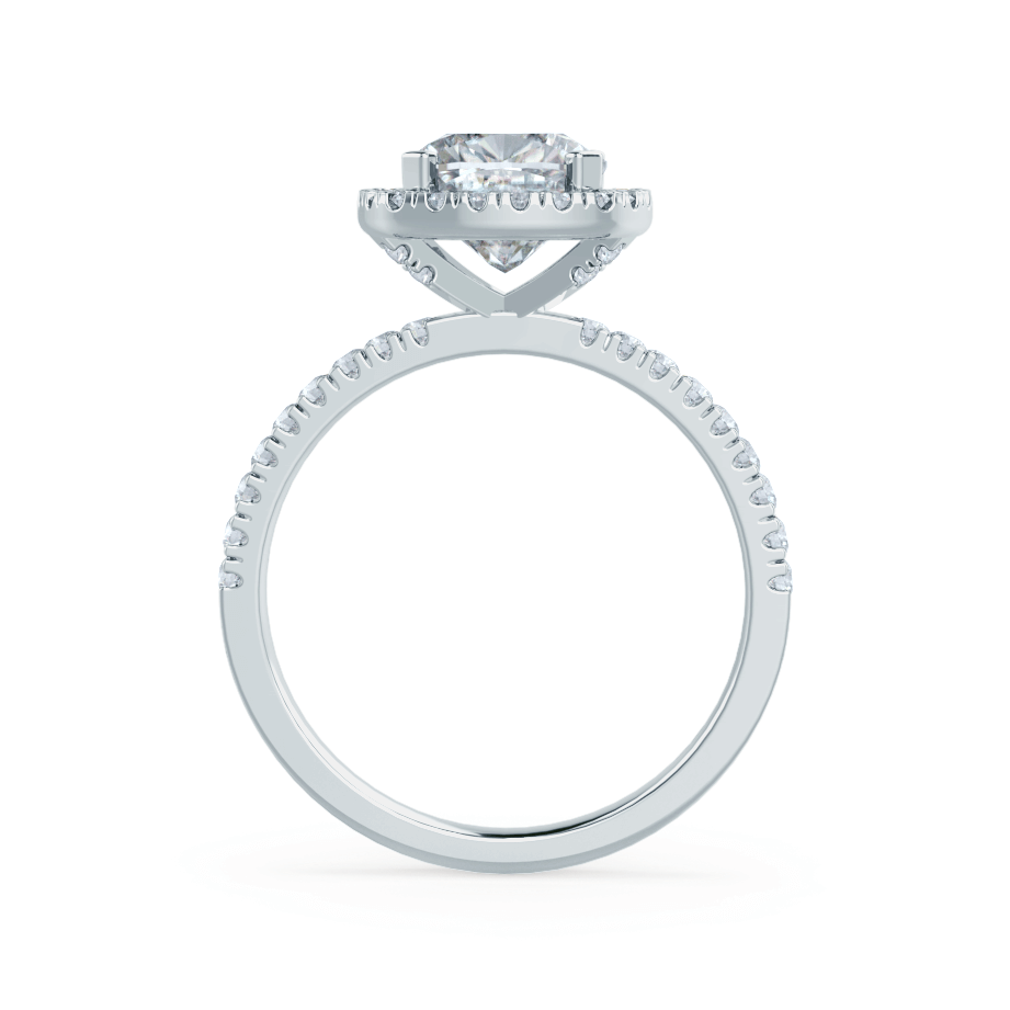 CASEADA - Cushion Moissanite & Diamond 18k White Gold Halo Ring Engagement Ring Lily Arkwright