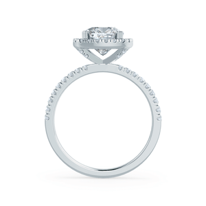 CASEADA - Cushion Moissanite & Diamond Platinum Halo Ring Engagement Ring Lily Arkwright