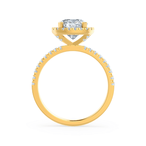 Lily Arkwright Engagement Ring CASEADA - Charles & Colvard Moissanite & Diamond 18k Yellow Gold Halo Ring