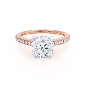 Lily Arkwright Engagement Ring CATALINA - Charles & Colvard Moissanite 18k Two Tone Rose Gold Shoulder Set Ring
