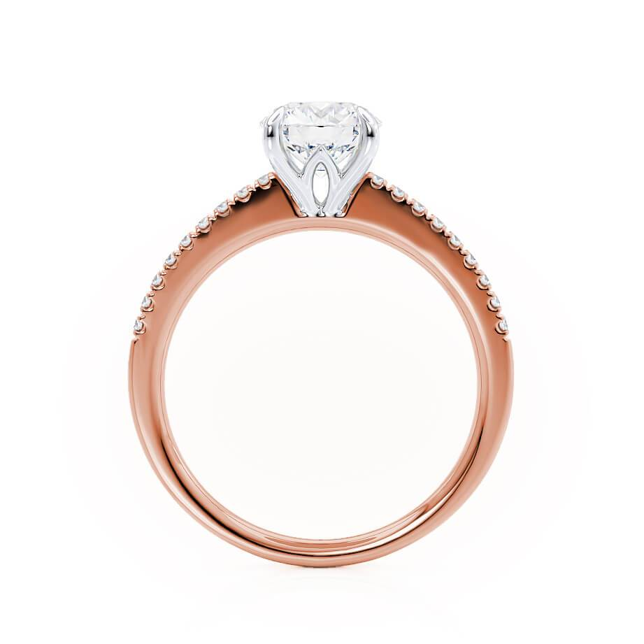 CATALINA - Round Moissanite 18k Two Tone Rose Gold Shoulder Set Ring Engagement Ring Lily Arkwright
