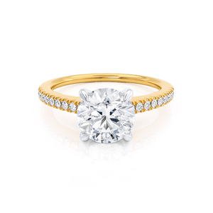 Lily Arkwright Engagement Ring CATALINA - Charles & Colvard Moissanite 18k Two Tone Yellow Gold Shoulder Set Ring