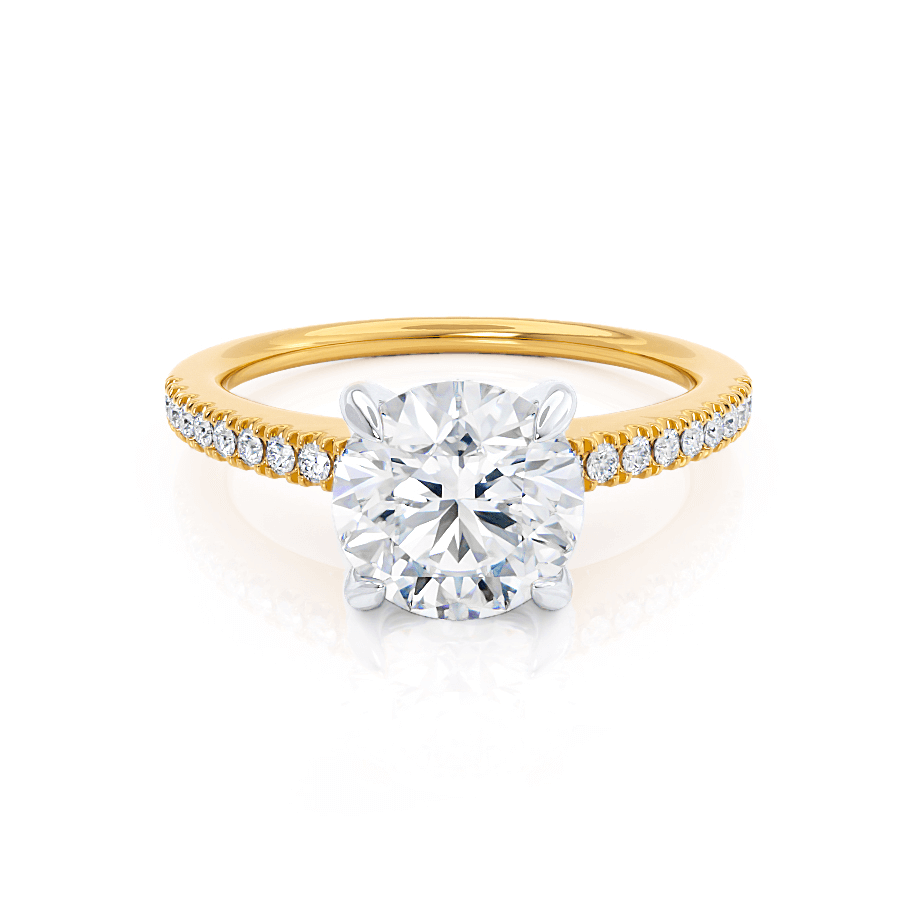 CATALINA - Charles & Colvard Moissanite Two Tone 18k Yellow Gold & Platinum Shoulder Set Ring