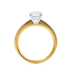 CATALINA - Charles & Colvard Moissanite 18k Two Tone Yellow Gold Shoulder Set Ring