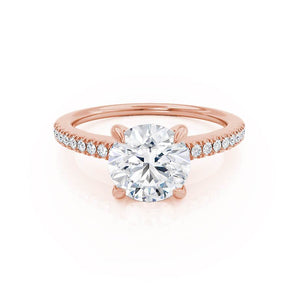 CATALINA - Charles & Colvard Moissanite 18k Rose Gold Shoulder Set Ring