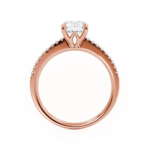 CATALINA - Round Moissanite 18k Rose Gold Shoulder Set Ring Engagement Ring Lily Arkwright