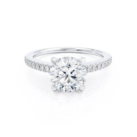 CATALINA - Charles & Colvard Moissanite 18k White Gold Shoulder Set Ring