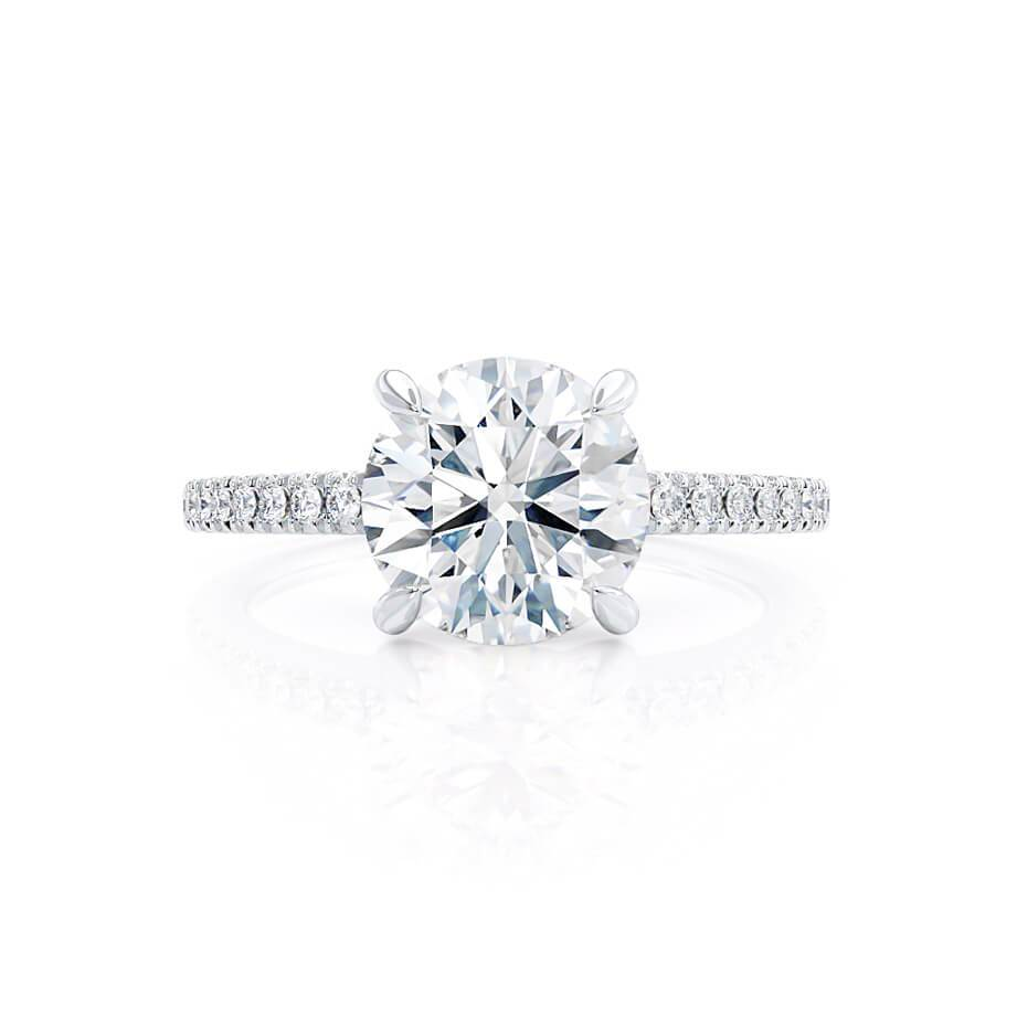 CATALINA - Round Moissanite 18k White Gold Shoulder Set Ring Engagement Ring Lily Arkwright