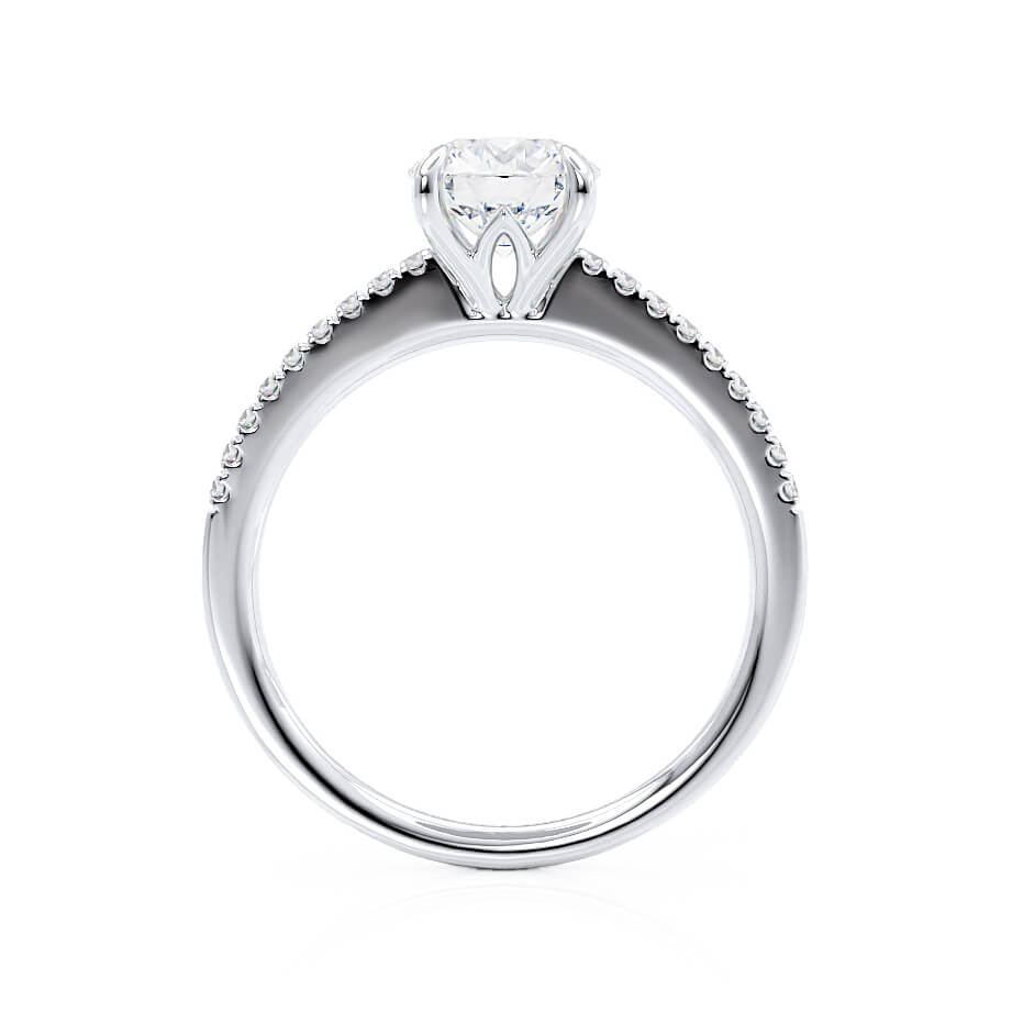 Lily Arkwright Engagement Ring CATALINA - Charles & Colvard Moissanite Platinum Shoulder Set Ring