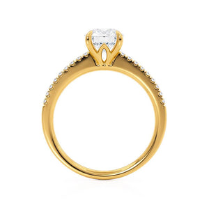 Lily Arkwright Engagement Ring CATALINA - Charles & Colvard Moissanite 18k Yellow Gold Shoulder Set Ring
