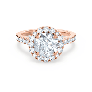 CECILY - Round Moissanite & Diamond 18k Rose Gold Shoulder Set Ring Engagement Ring Lily Arkwright