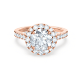 Lily Arkwright Engagement Ring CECILY - Moissanite & Diamond 18k Rose Gold Shoulder Set Ring