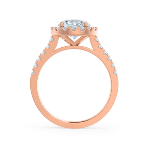 Cecily Moissanite & Diamond 18k Rose Gold Shoulder Set Ring