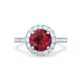 CECILY - Lab Grown Red Ruby & Diamond Platinum Halo Ring