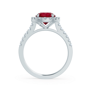 CECILY - Lab Grown Red Ruby & Diamond Platinum Halo Ring Engagement Ring Lily Arkwright