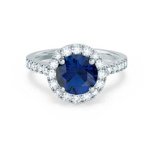 CECILY - Lab Grown Blue Sapphire & Diamond Platinum Halo Ring Engagement Ring Lily Arkwright