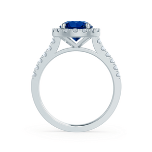 CECILY - Lab Grown Blue Sapphire & Diamond 18k White Gold Halo Ring Engagement Ring Lily Arkwright