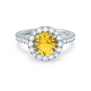 CECILY - Lab Grown Yellow Sapphire & Diamond Platinum Halo Ring Engagement Ring Lily Arkwright