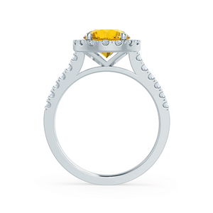 CECILY - Lab Grown Yellow Sapphire & Diamond 18k White Gold Halo Ring Engagement Ring Lily Arkwright