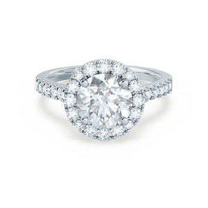 Lily Arkwright Engagement Ring CECILY - Moissanite & Diamond 18k White Gold Shoulder Set Ring