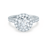CECILY - Moissanite & Diamond 18k White Gold Shoulder Set Ring