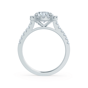 CECILY - Round Moissanite & Diamond 18k White Gold Shoulder Set Ring Engagement Ring Lily Arkwright