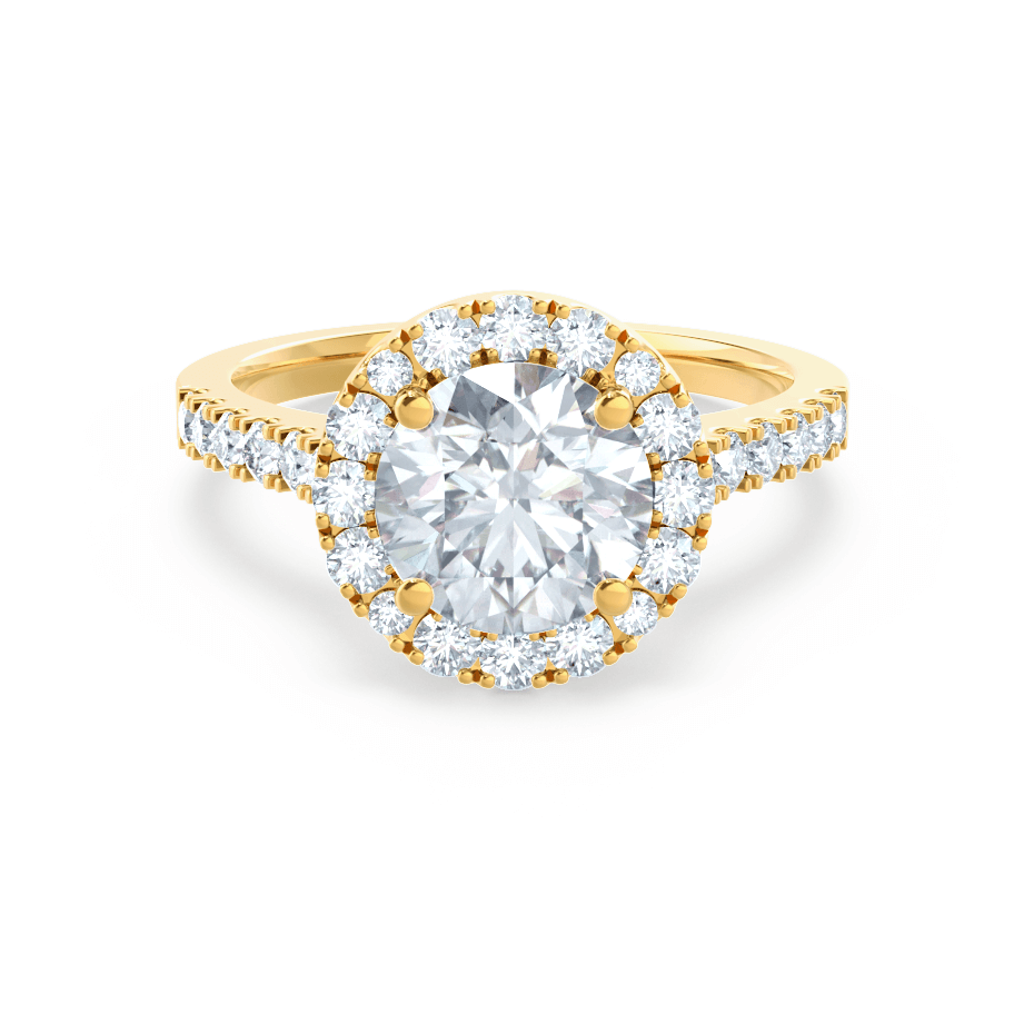 Lily Arkwright Engagement Ring CECILY - Moissanite & Diamond 18k Yellow Gold Shoulder Set Ring