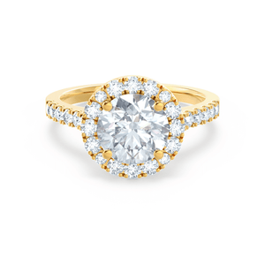 CECILY - Moissanite & Diamond 18k Yellow Gold Shoulder Set Ring