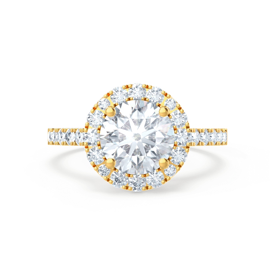 CECILY - Round Moissanite & Diamond 18k Yellow Gold Shoulder Set Ring Engagement Ring Lily Arkwright