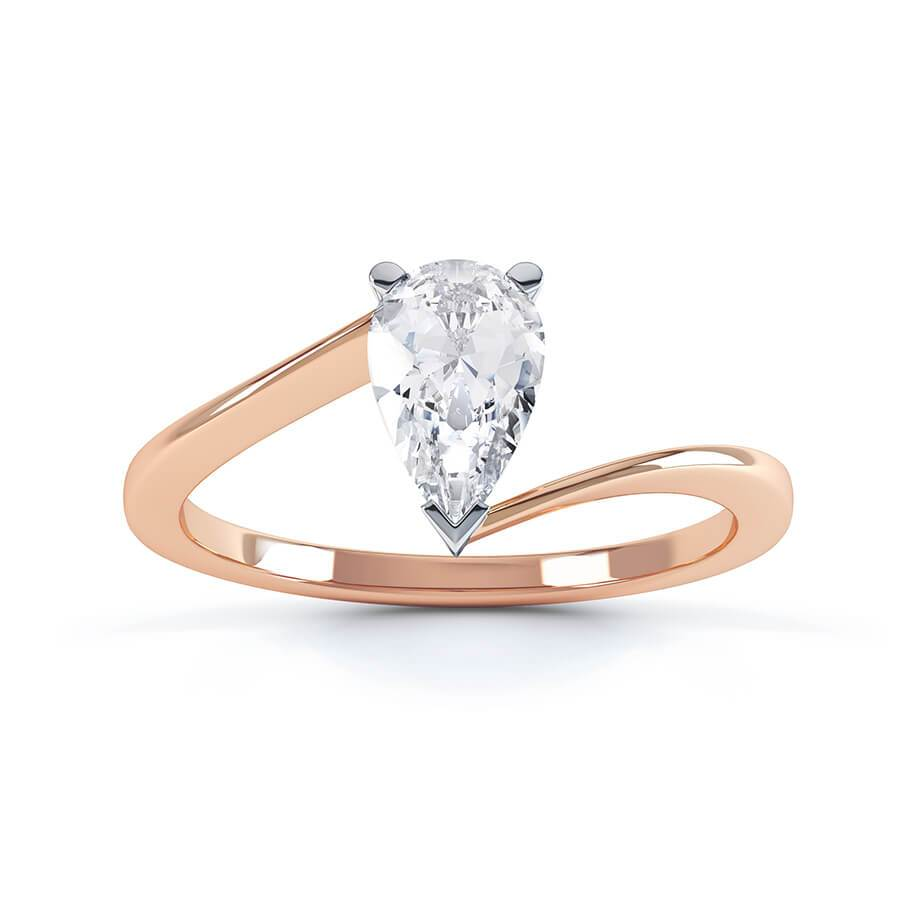 CELINE - Charles & Colvard Moissanite 18k White & Rose Gold Pear Cut Solitaire Ring