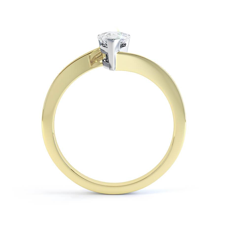 CELINE - Charles & Colvard Moissanite 18k Two Tone Gold Pear Cut Solitaire Ring