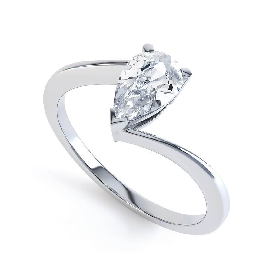 Lily Arkwright Engagement Ring CELINE - Charles & Colvard Moissanite 18k White Gold Pear Solitaire Ring