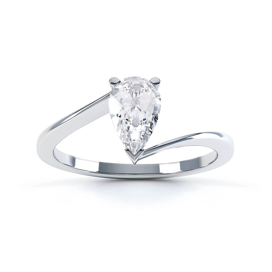 CELINE - Pear Moissanite 950 Platinum Solitaire Ring Engagement Ring Lily Arkwright